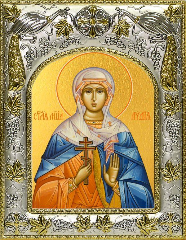 Икона святой Лидии в окладе