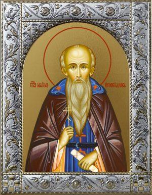 Максим Исповедник преподобный икона в окладе