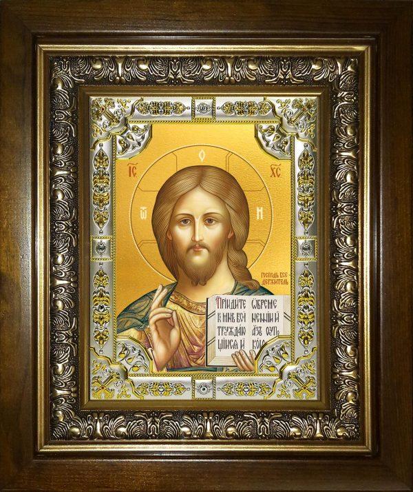 купить икону Господь Вседержитель Иисус Христос в окладе и киоте