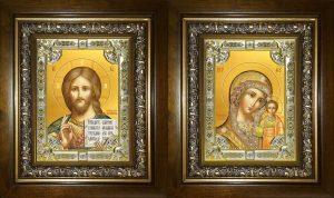 купить Венчальную пару икон Господь Вседержитель и Казанская Божья Матерь в киотах