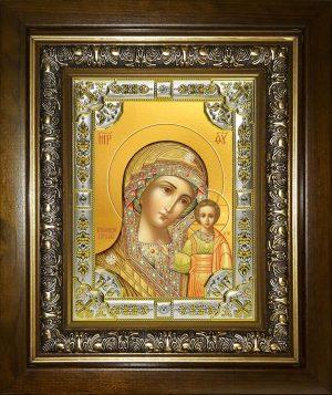 купить икону Казанской Божьей Матери в окладе и киоте
