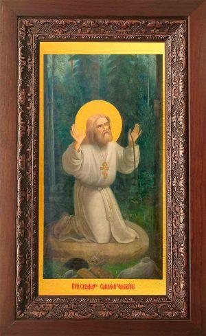 Купить икону Серафима Саровского в киоте