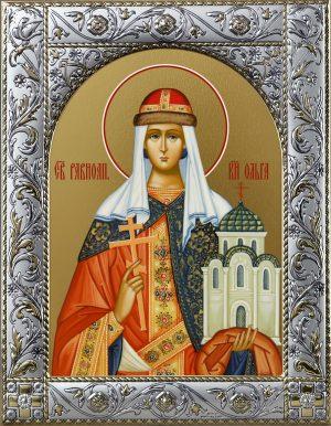 купить икону святой Ольги в окладе