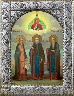 купить икону святых Зосимы, Савватия и Германа Соловецких