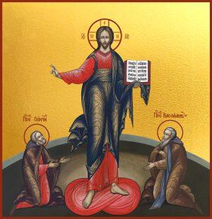 купить икону Господь Вседержитель преподобный Сергий Радонежский и преподобный Варлаам Хутынский