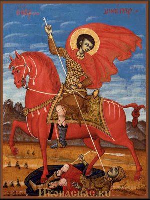приобрести икону Димитрий Солунский на коне