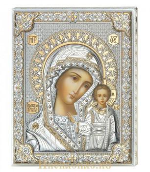 Икона Казанская Божья Матерь в окладе производство Италия