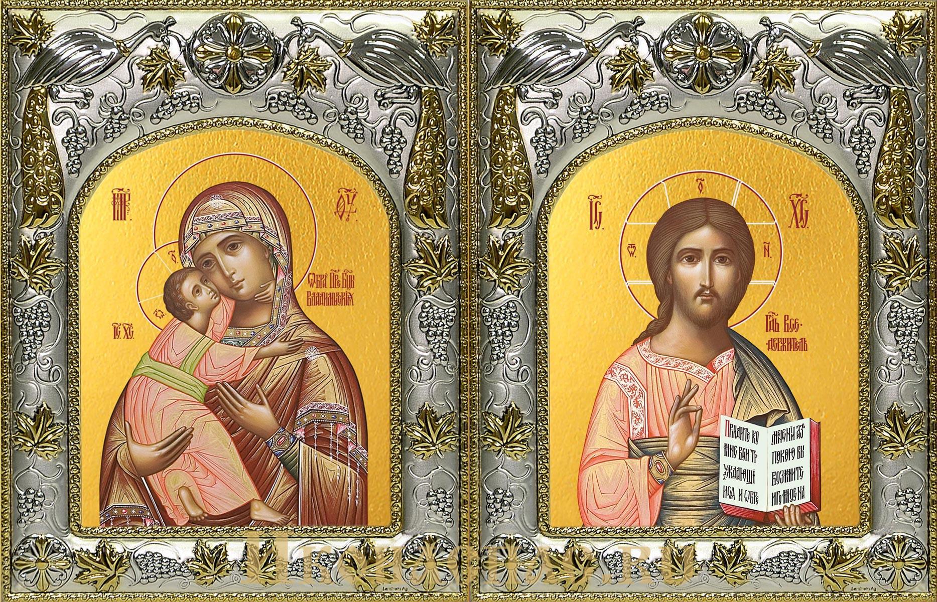 Венчальная пара икон Господь Вседержитель и Владимирская икона Божьей Матери