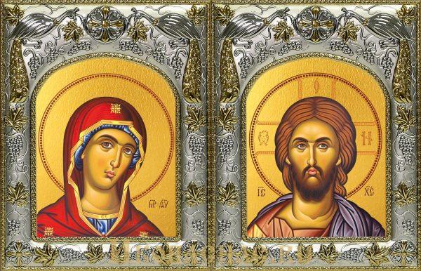 Венчальная пара икон Господь Вседержитель и Деисусная икона Божьей Матери