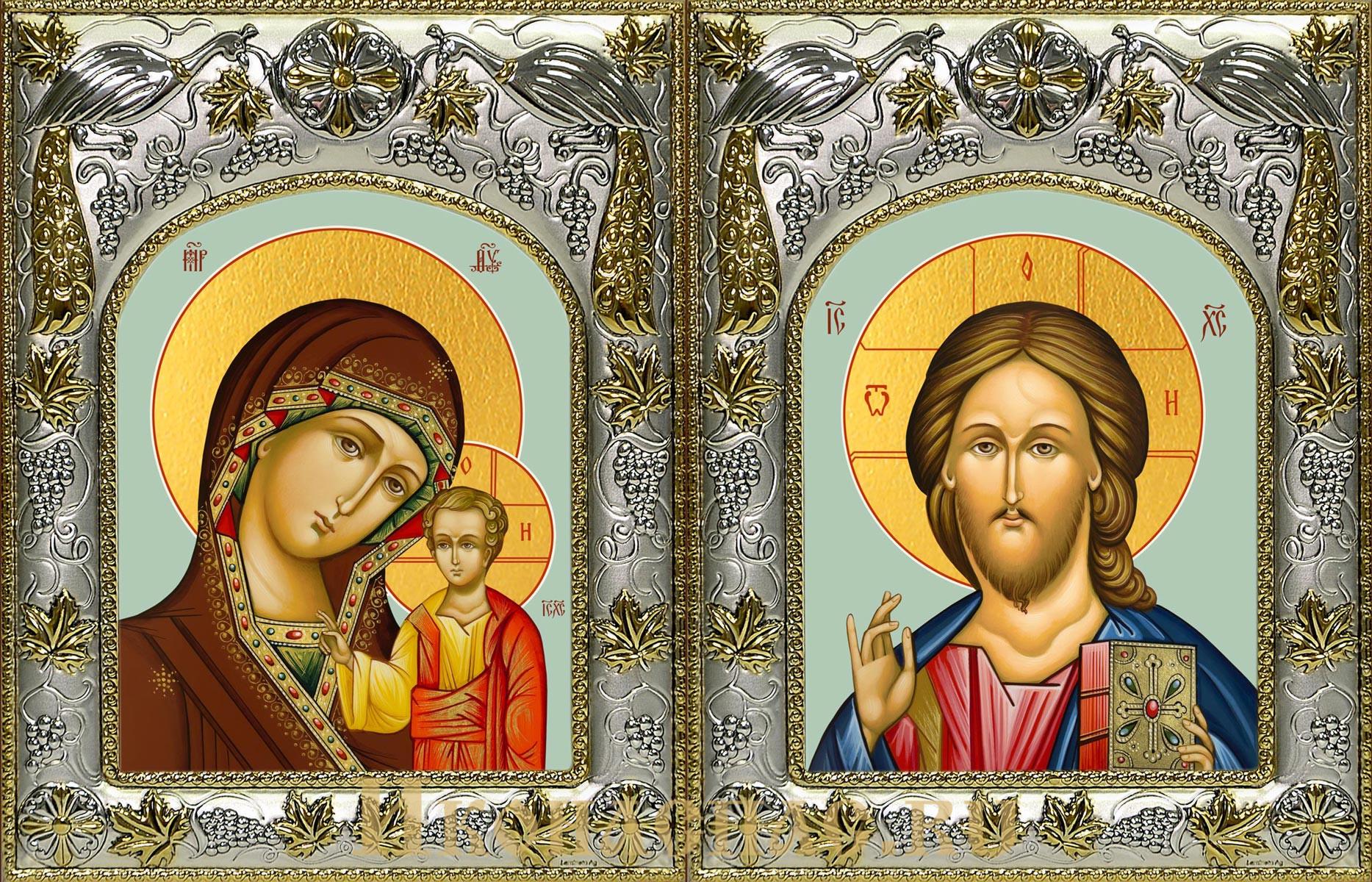 купить венчальную пару икон Господь Вседержитель и Казанская икона Божьей Матери