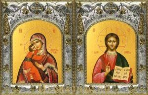 купить венчальную пару икон Господь Вседержитель и Владимирская икона Божьей Матери