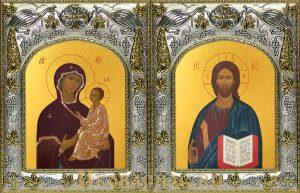 купить венчальную пару икон Господь Вседержитель и Тихвинская икона Божьей Матери