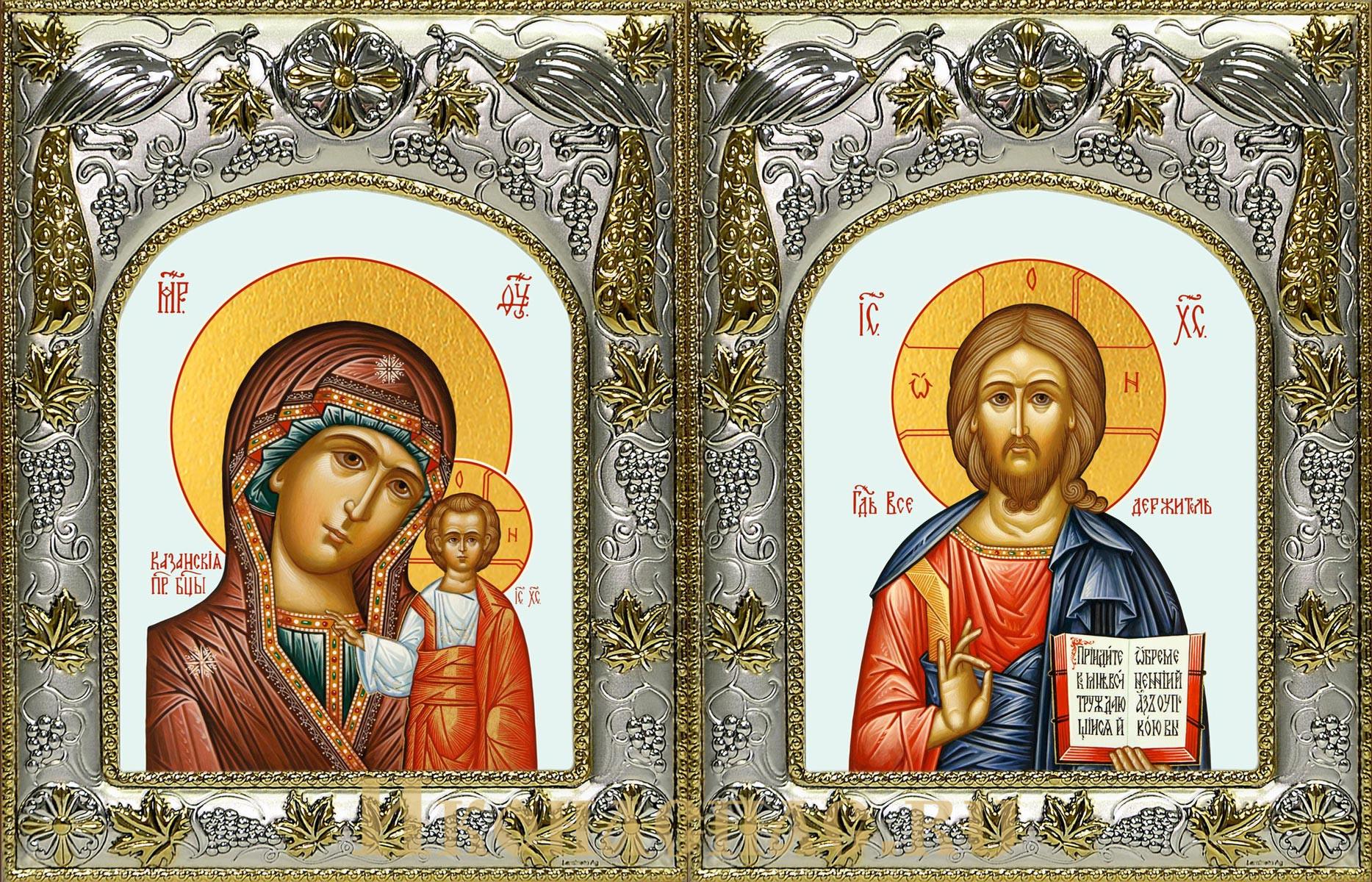 Венчальная пара икон Господь Вседержитель и Казанская икона Божьей Матери