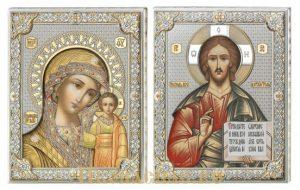 купить венчальную пару икон Господь Вседержитель и Казанская икона Божьей Матери итальянского производства