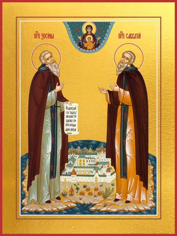 купить икону святого Зосимы и Савватия Соловецких