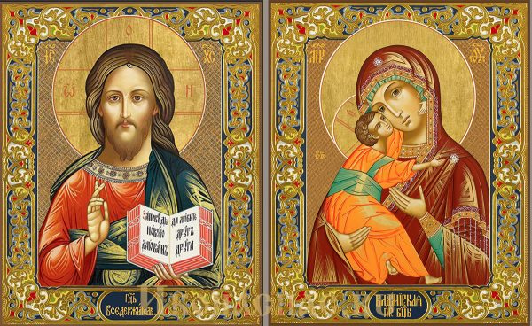 купить Венчальную пару икон Господь Вседержитель и Владимирская Божья Матерь