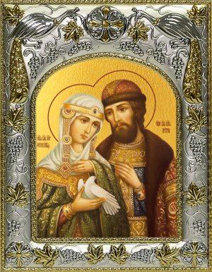 Купить икону святые Петр и Феврония Муромские с голубкой