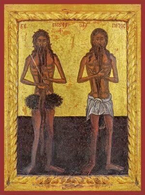 купить икону Онуфрий Великий и Петр Афонский