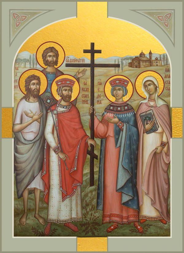 купить икону Константин и Елена равноапостольные, Алексий преподобный, Анастасия Римская мученица, Вонифатий мученик