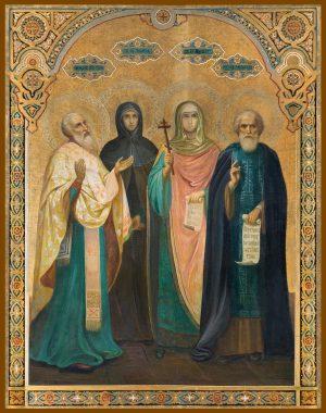 купить икону Спиридона Тримифунтского, Пелагии Антиохийской, Параскевы Пятницы, Сергия Радонежского