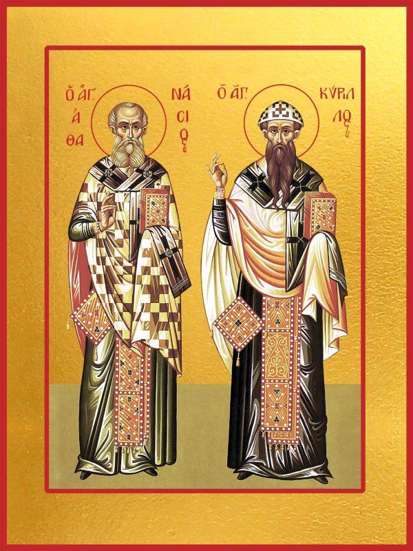 купить икону святых Афанасия Великого и Кирилла Александрийского