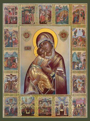 купить икону Владимирская Божией Матери с клеймами