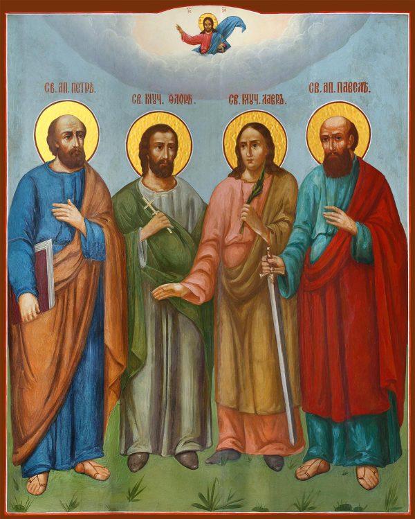 купить икону Петр и Павел апостолы, Флор и Лавр мученики