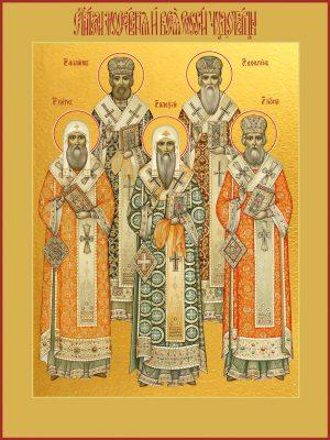 купить икону Петр, Алексий, Иона, Филипп, Ермоген, святители московския и всея России чудотворцы