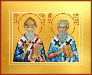 купить икону Спиридон Тримифунтский и Трифиллий, епископ Левкуссийский, святители