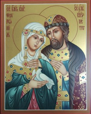купить писаную икону Петра и Февронии