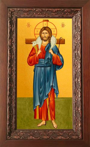 Купить икону Пастырь Добрый в киоте